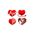 heart care template set vector image vector image