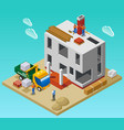 house construction isometric composition vector image vector image