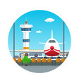 icon view on airplane and control tower vector image vector image
