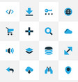 interface icons colored set with shopping find vector image