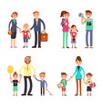kids and parents in happy family mom dad vector image vector image