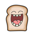 laughing smiling slice bread cartoon vector image vector image