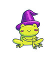 little frog in witch hat pointing away vector image