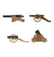 medieval artillery cannon set flat design concept vector image