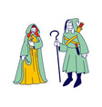 medieval characters man and woman wearing ancient vector image