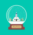 merry christmas glass ball with church in winter vector image vector image