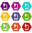 microscope icons set 9 vector image
