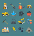 minig industry flat icon set vector image
