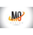 mo m o letter logo with fire flames design and vector image vector image