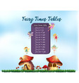 nine times tables fairy theme vector image vector image