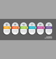 oval infographics timeline paper with 6 data vector image vector image