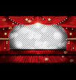 red stage curtain with seats and transparent copy vector image vector image