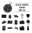 rest and travel set icons in black style big vector image vector image