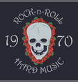 rock and roll stamp with skull and rose vector image vector image