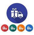 round icon of delivery car flat style with long vector image vector image