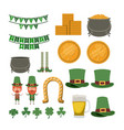 saint patricks day typical elements set in vector image