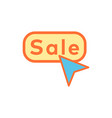 sale button flat icon sign symbol vector image vector image