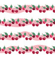 seamless pattern with beauty cherries on striped vector image