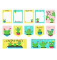 set of cards with cute funny cactuses vector image vector image