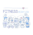 set of doodle icons related to fitness vector image