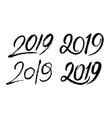 set of handwritten numbers 2019 for new year vector image