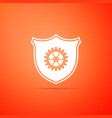 shield with gear icon on orange background vector image