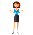 smiling office woman presents something vector image