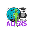 space aliens icon ufo saucers and green monster vector image