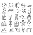 summer doodle icons vector image vector image