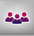Team work sign purple gradient icon on