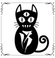 three eyed black cat with floral frame ornament vector image vector image