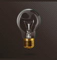 transparent electric light bulb with a gold base vector image vector image