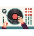 Turntable with dj hands Modern music flat vector image