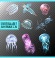 underwater transparent icon set vector image