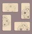vintage floral visiting card set vector image vector image