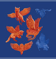 winged fantasy forest animals isolated on blue vector image