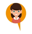 woman avatar character with speech bubble isolated vector image vector image