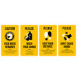 yellow caution cards face mask required please vector image vector image