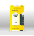 yellow home concept products ui ux gui screen for vector image vector image