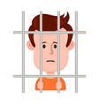 young sad man prisoner behind bars vector image vector image