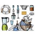 colander blender and juicer dirty dishes jam vector image