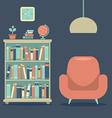 Modern Design Interior Sofa And Book Cabinet vector image