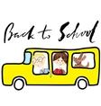 School bus Kids riding on school bus Handwritten vector image