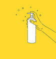 a man holds bottle cleaning spray in his hand vector image