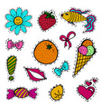 a set of fashion labels badges ice cream flowers vector image