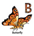 alphabet letter b butterfly vector image vector image