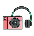 audio earphones with camera photographic vector image