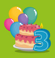 birthday card with candle number three vector image