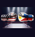 boxing gloves with prints of usa and philippines vector image vector image