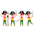 boy poses set public performance pirate vector image vector image